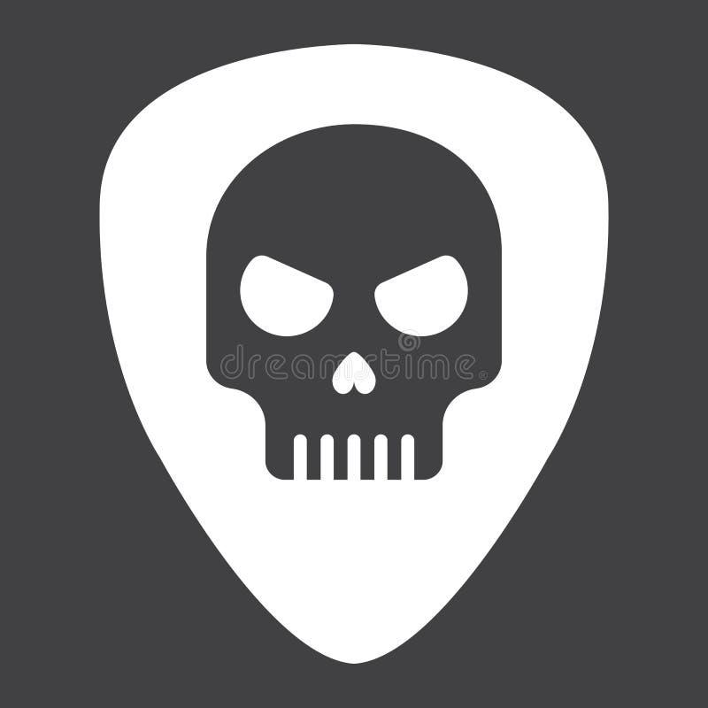 Sélection de guitare avec l'icône de glyph de crâne, musique illustration libre de droits