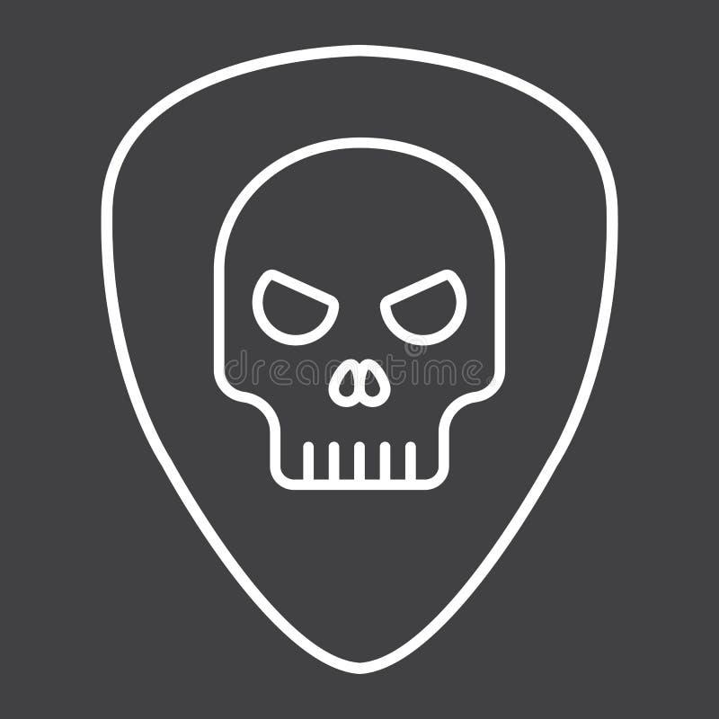Sélection de guitare avec la ligne icône, musique de crâne illustration de vecteur