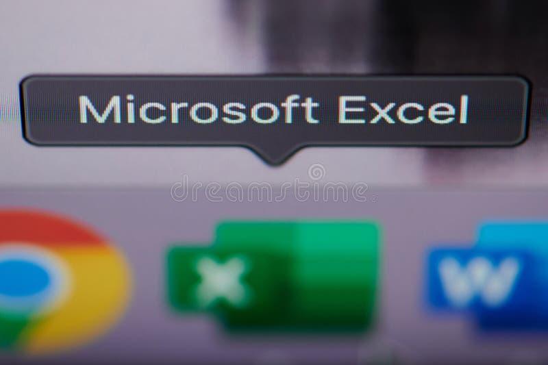 Sélection de l'application de Microsoft Excel sur l'ordinateur photo stock