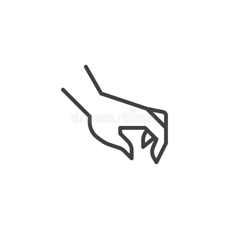 Sélection de la ligne icône de geste de main illustration stock