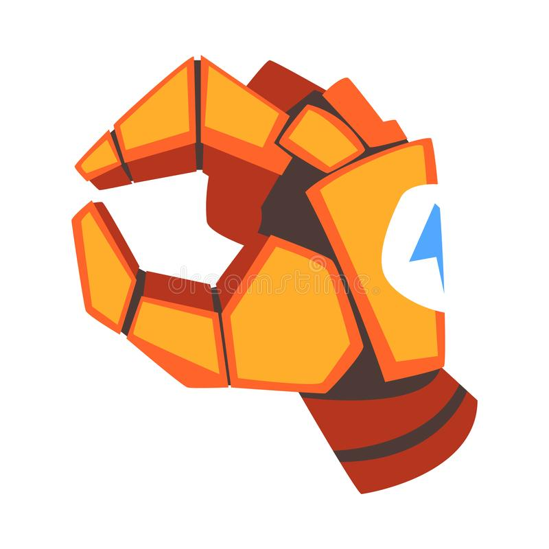 Sélection de la main de robot, paume mécanique orange faisant des gestes, illustration de vecteur d'intelligence artificielle illustration libre de droits