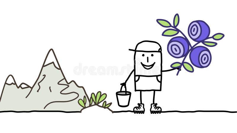 Sélection de myrtilles illustration stock