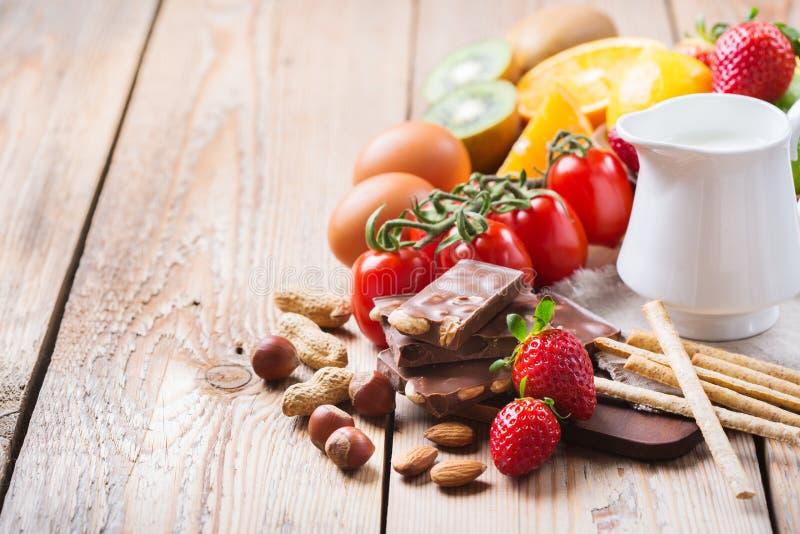 Sélection de nourriture d'allergie, concept sain de la vie images libres de droits