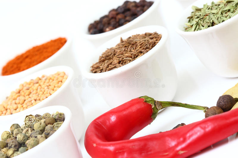Sélection des épices sur les cuvettes blanches photographie stock