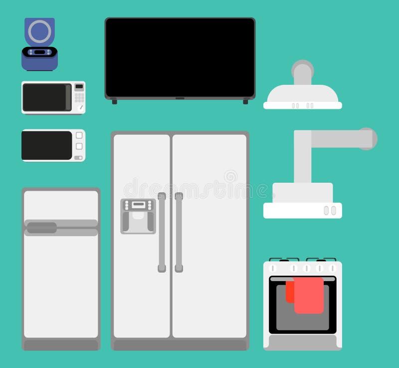 Sélection des appareils de cuisine pour le style à la maison plat illustration stock