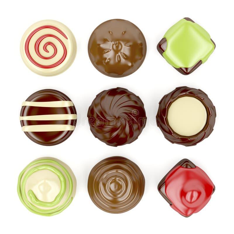 Sélection des bonbons au chocolat illustration stock