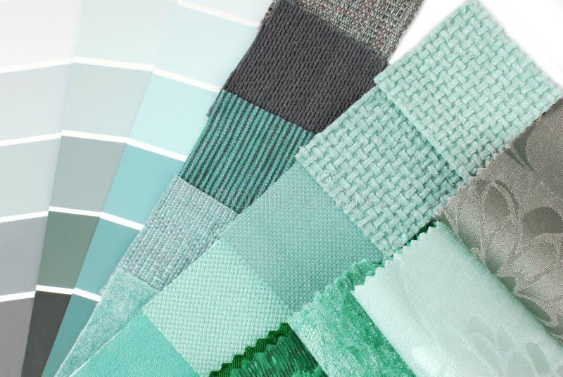 Sélection des couleurs de tapisserie et de rideau de tapisserie d'ameublement photographie stock