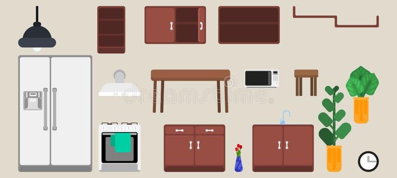 Sélection des détails intérieurs de meubles de cuisine illustration de vecteur