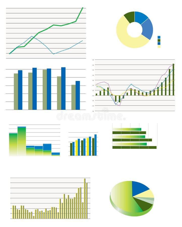 Sélection des graphiques de rendement types d'affaires illustration libre de droits