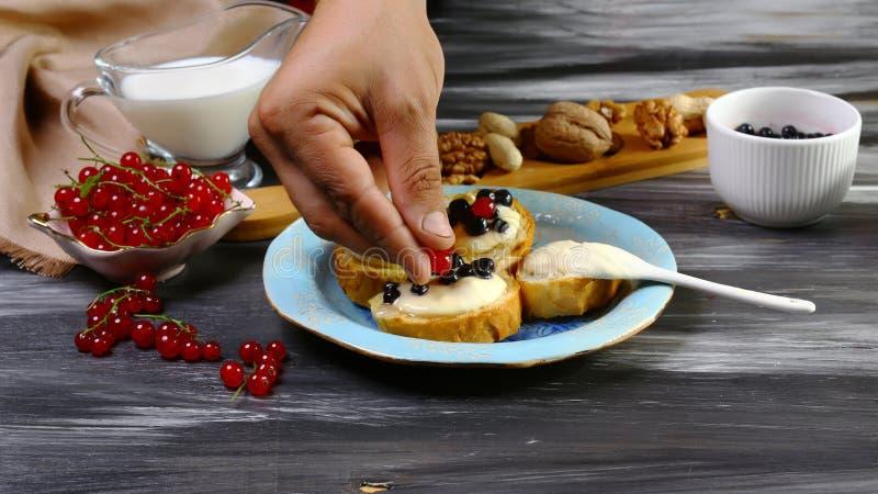 Sélection des pains grillés avec le beurre et les baies d'arachide de fromage Procédé de cuisson Image authentique de mode de vie photo libre de droits