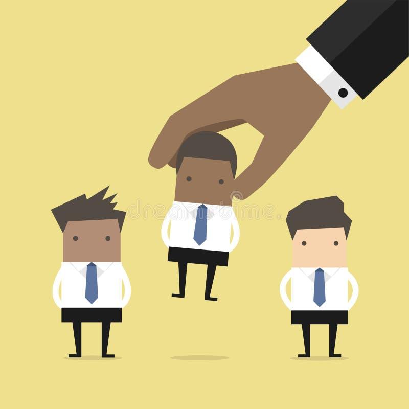Sélection du professionnel africain d'homme d'affaires de candidat droit illustration stock