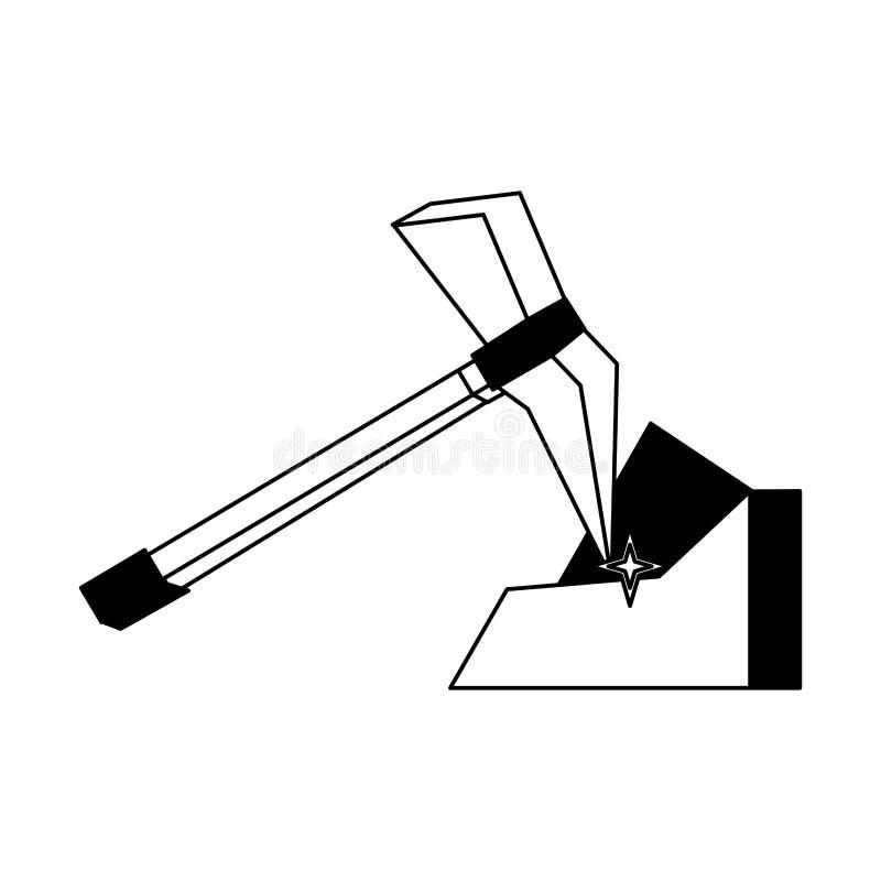 Sélection et pierre en noir et blanc illustration de vecteur