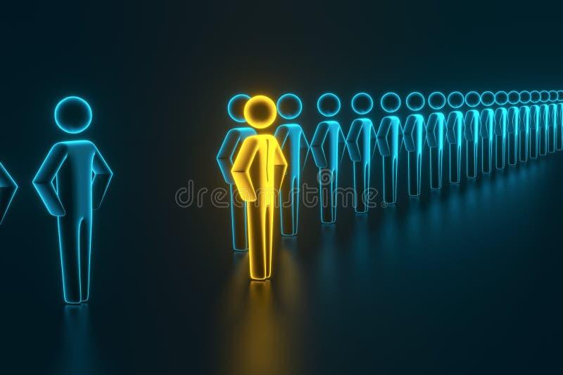 Sélection et recherche d'un employé ou d'un client supérieur rendu 3d illustration de vecteur