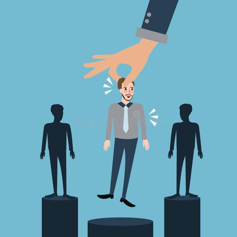 Sélectionnez le meilleur employé que le processus de sélection de location enlèvent mis le feu illustration libre de droits