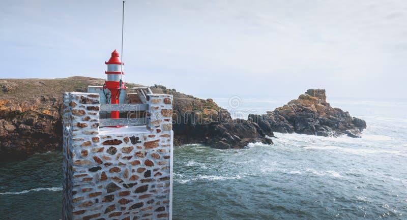 Sémaphore à l'entrée du port de la La Meule image libre de droits
