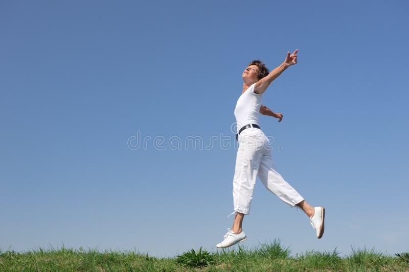Sénior de salto fotografia de stock