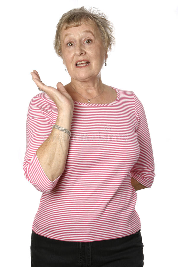 sénior fêmea caucasiano na parte superior cor-de-rosa fotografia de stock royalty free