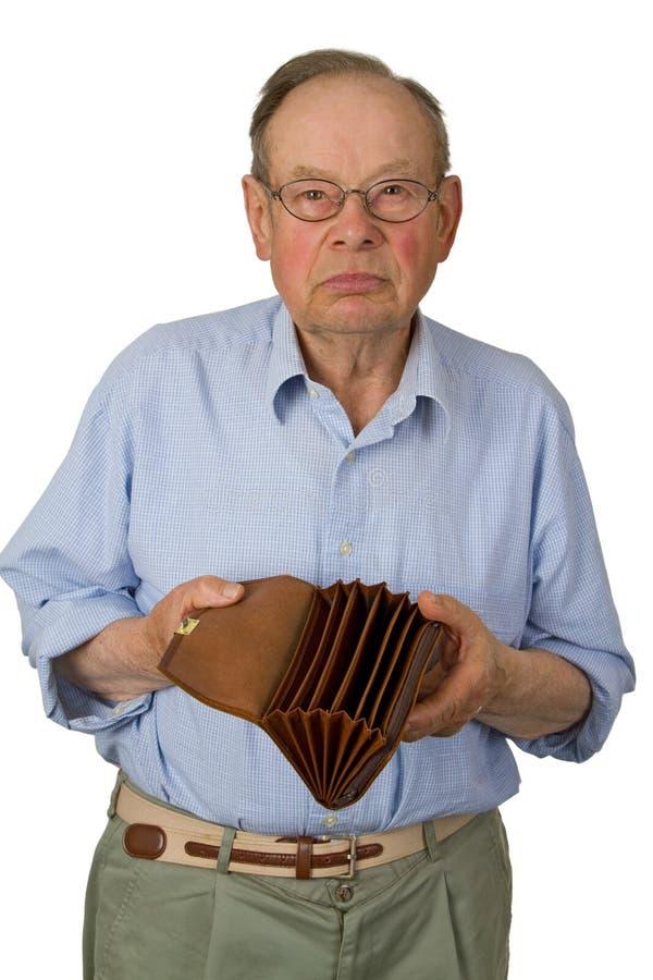 Sénior masculino com carteira vazia fotografia de stock