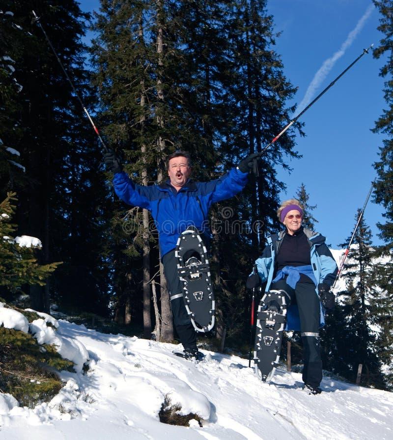 Séniores ativos do inverno fotos de stock royalty free