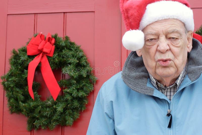 Séniores, exaustão do Natal fotografia de stock
