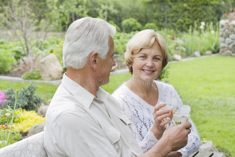 Séniores românticos que bebem o campo imagens de stock royalty free