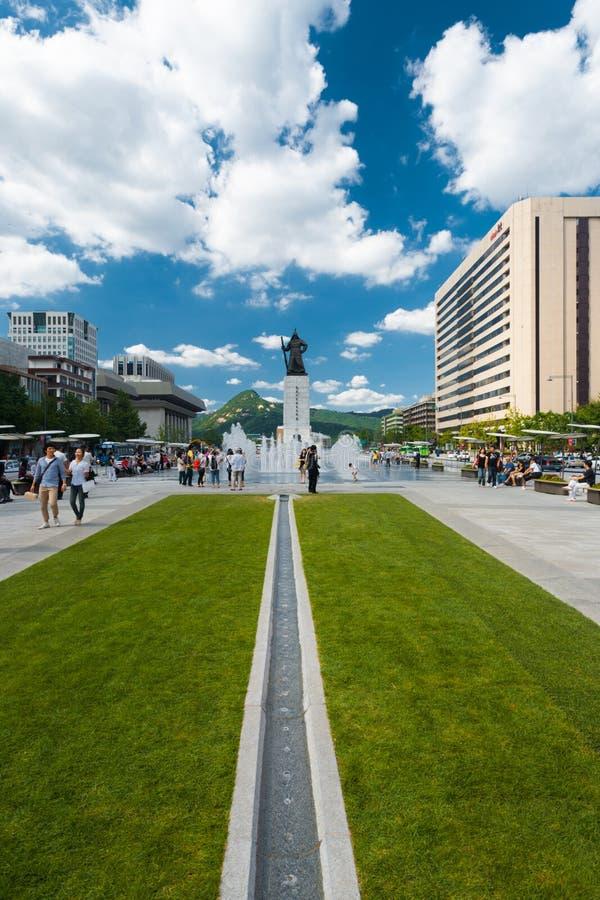 Éloigné centré par jour du Roi Sae Jong Dae Statue photo libre de droits