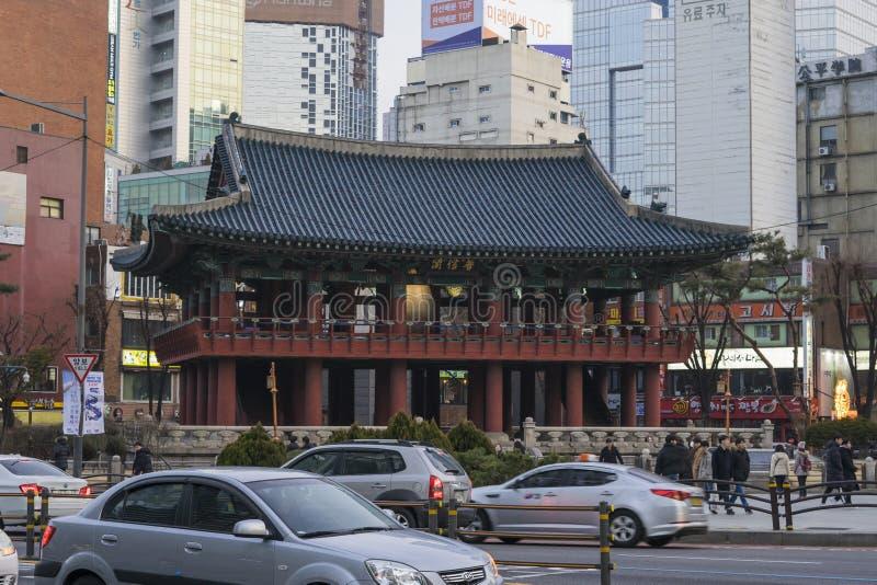 Séoul, Corée du Sud - 5 février 2019 : Pavillon de Bosingak Bell photos libres de droits