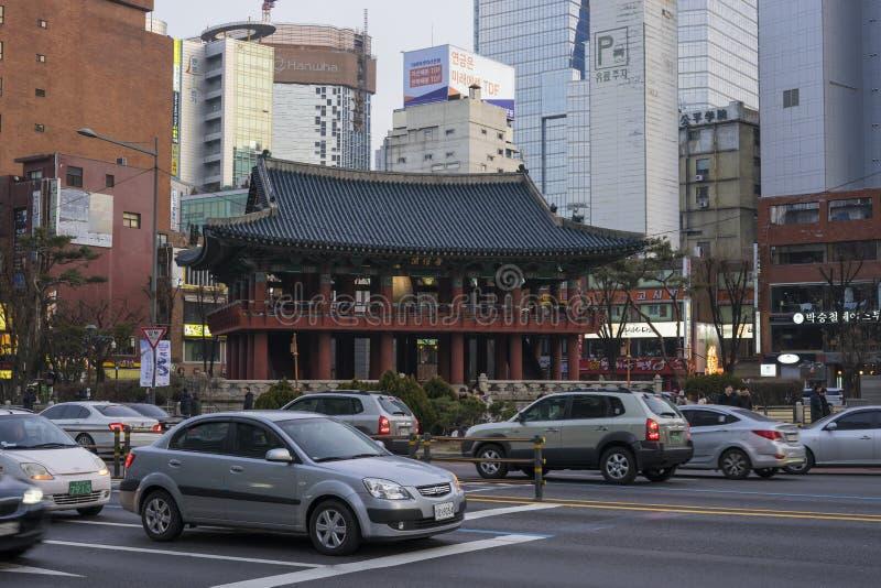 Séoul, Corée du Sud - 5 février 2019 : Pavillon de Bosingak Bell photo libre de droits