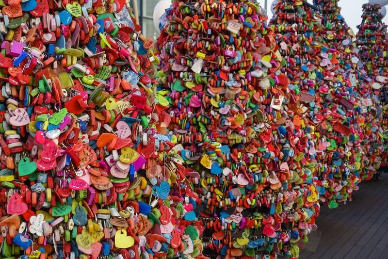 Séoul, Corée du Sud - 17 mars 2019 : Cadenas d'amour à la tour de N Séoul, Namsan, Séoul, Corée photos stock