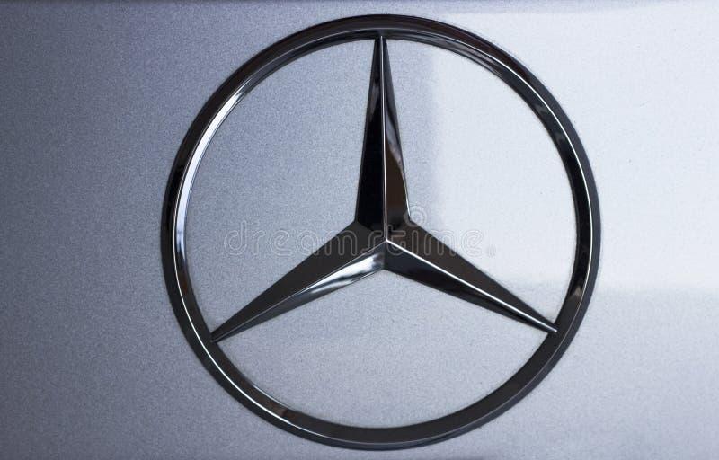 Séoul/Corée du Sud - 10 15 2018 : Mercedes Benz Sign Close Up photos stock