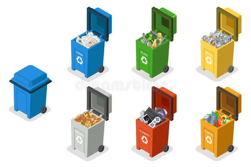 Séparation de déchets de poubelles réutilisant l'illustration plate isométrique d'isolement de vecteur d'ensemble d'icônes de la  illustration stock