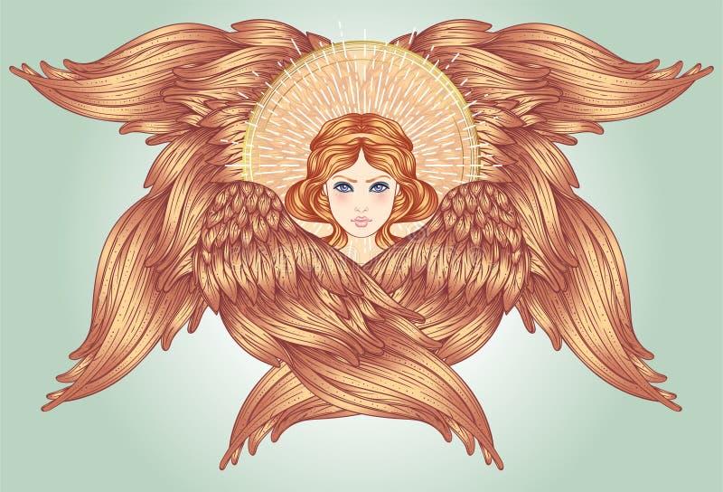 Séraphin, six anges à ailes Illustration tirée par la main Le rang le plus élevé dans l'angelology chrétien Style à la mode de vi illustration stock