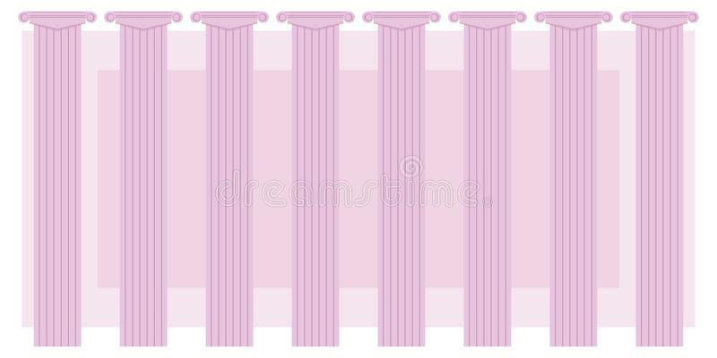 Série clássica oito das colunas da cor cor-de-rosa em um fundo dos announcemen gregos do fundo do teatro da ilustração cor-de-ros ilustração royalty free