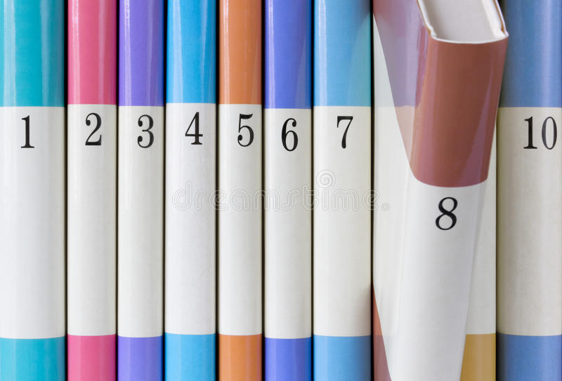 Série colorida de livros fotografia de stock