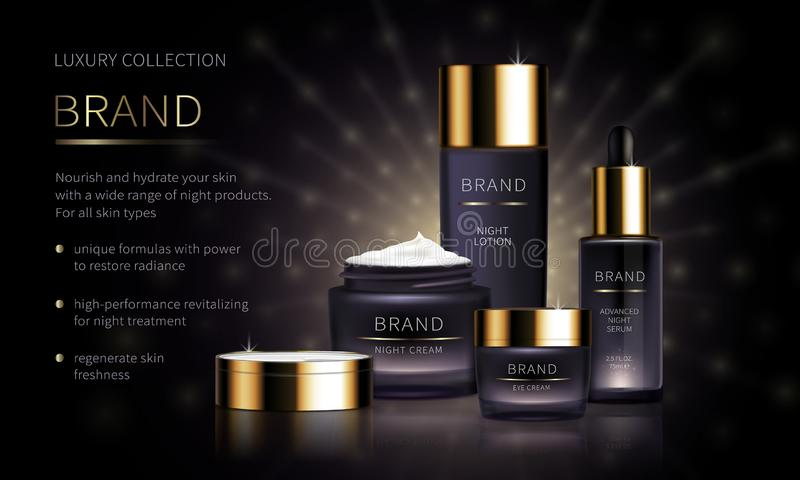 Série cosmétique de nuit pour des soins de la peau de visage illustration libre de droits