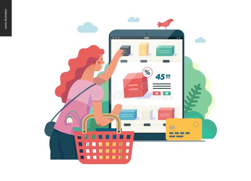 Série d'affaires - achetez le calibre en ligne de Web de boutique illustration libre de droits