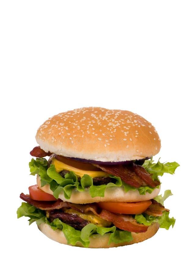 Série d'hamburger (cheeseburger de lard entier) image stock