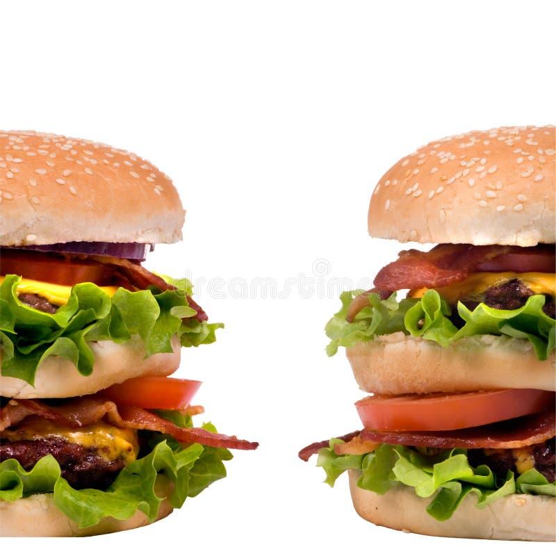 Série d'hamburger (hamburgers jumeaux) photographie stock libre de droits