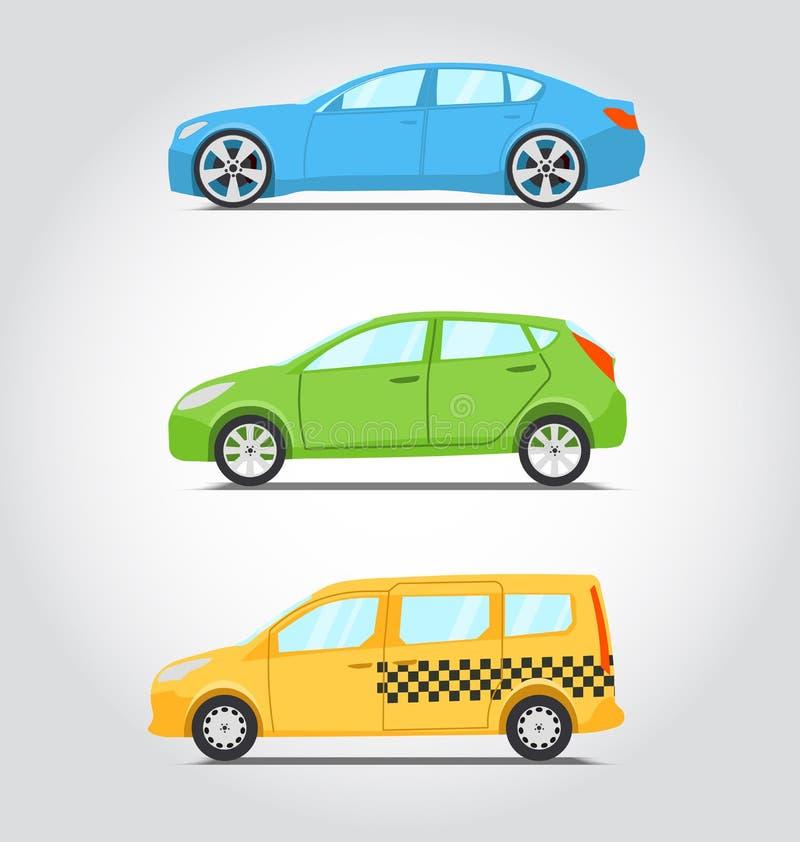 Série d'icône de voitures Style plat de couleurs Berline ou supercar, hatchbac illustration stock