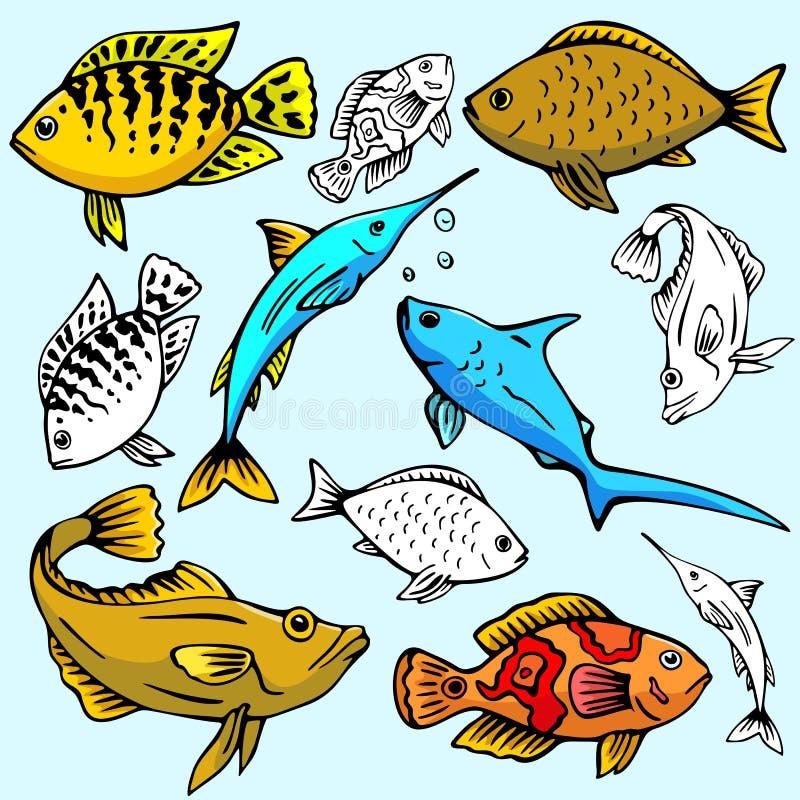 Série d'illustration de Seaworld illustration de vecteur