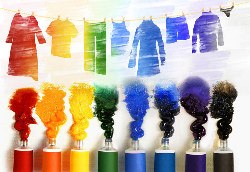 Série d'illustrations avec des tubes de peinture. photographie stock