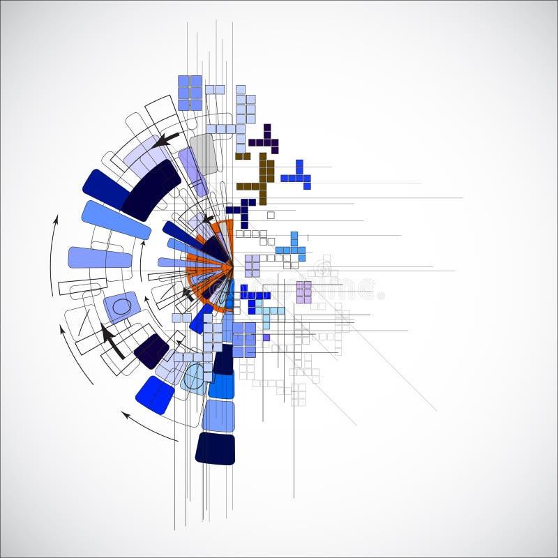 Série d'ordinateurs lumineuse abstraite de circuit fond d'affaires de technologie illustration stock