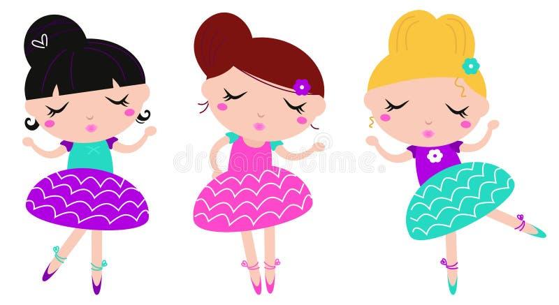 Meninas pequenas bonitos da bailarina da dança ajustadas ilustração stock