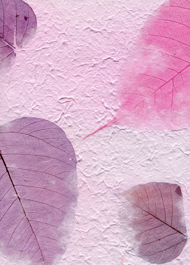 Série da textura - papel roxo com folhas fotografia de stock royalty free