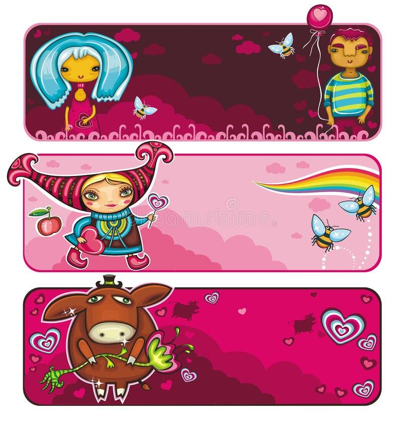 Série das bandeiras do Valentim ilustração royalty free