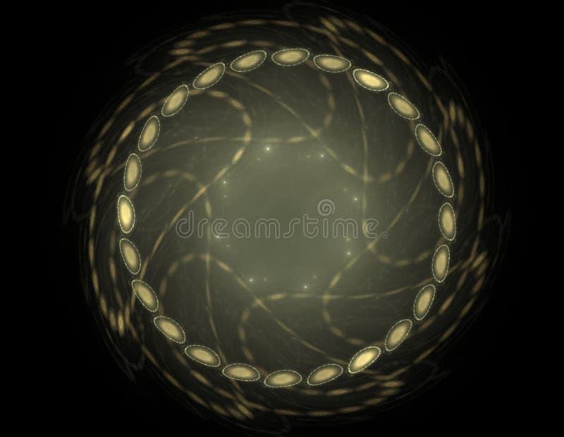 Série das partículas elementares A interação do fractal abstrato forma a propósito da ciência da física nuclear e do projeto gráf ilustração stock