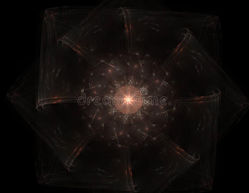 Série das partículas elementares A interação do fractal abstrato forma a propósito da ciência da física nuclear e do projeto gráf imagens de stock