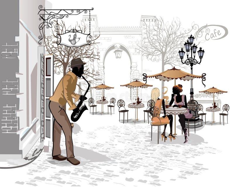 Série das ruas com os músicos na cidade velha ilustração do vetor