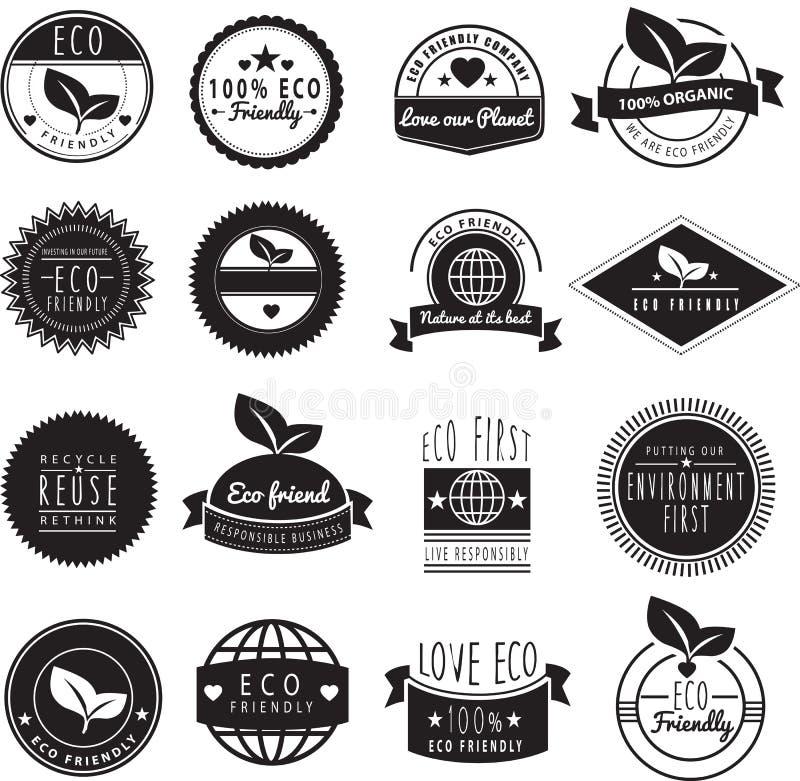Série de amor amigável do eco nossos logotipos da terra ilustração do vetor