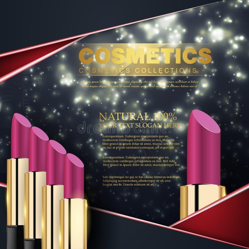 Série de beauté de cosmétiques, annonces de rouge à lèvres femelle de la meilleure qualité Calibre pour l'affiche de conception,  illustration stock